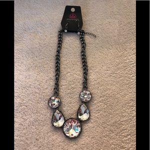 Paparazzi gunmetal/white rhinestones necklace
